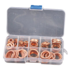 120pcs Kit 8 Sizes Assorted Solid Copper Crush Washers Seal Flat Ring w Box $16.73