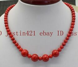 Natural 6mm 12mm Round South Sea Red Coral Gemstone Necklace 18'' AAA