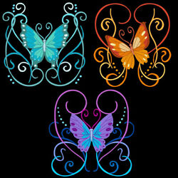 EXOTIC FLUTTERBYS - 6inch-10 Machine Embroidery Designs CD (FREE SHIPPING)