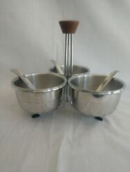MCM Condiment Serving set Stainless Bowls Caddy Wood Handle and matching spoons