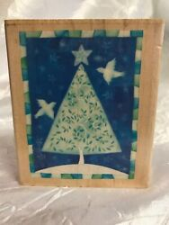 Inkadinkado Challis amp; Roos Christmas Tree Doves Night Sky Rubber Stamp NO INK $10.95