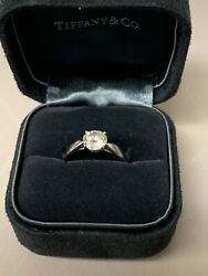 tiffany platinum engagement ring 1.21 ct round cut with certification