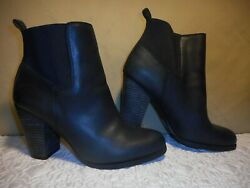 Lucky Brand ~Ankle Boot ~High Heel Black Leather Slip On ~Women (9.5 M) Eur 40