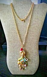 KIRKS FOLLY DREAMY MERMAID CHRISTMAS PENDANT & CHAIN   GOLD TONED  NWT