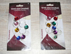12 pc Franmara Wine Glass Gem Charms Markers Drinks Colorful