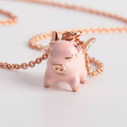 Kate Spade Pink Imagination Flying Pig Crystal Pendant Necklace w Gift Box $22.99