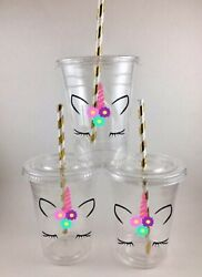 Unicorn Party Cups Birthday Unicorns Set of 12 WITH Lids Straws Face $21.99