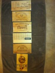 6 Assorted wooden wine box end panels