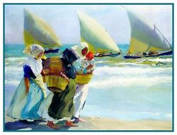 3 Sail Boats from Beach by Artist Joaquín Sorolla Counted Cross Stitch Pattern