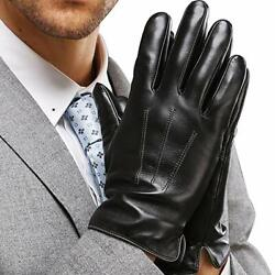 Leather Gloves for Mens Full Hand Touchscreen Gift Packaging $17.99
