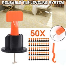 New 50X Flat Ceramic Floor Wall Construction Tools Reusable Tile Leveling System