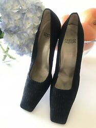 Charles Jourdan Paris Black Fabric & Leather Square Toe Block Heel Pumps 10