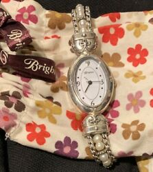 Brighton Silver Tone Toggle Bracelet Watch with Sweet Faux Pearls