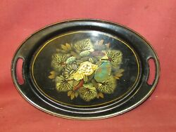 Antique Tole Toleware Tray with Nautical Seashell Decoration . $210.00