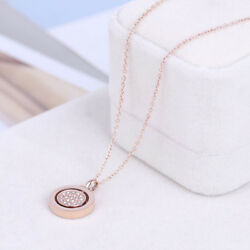 Michael Kors Rose Gold Tone Double Circle Crystal Pendant Necklace w Gift Box