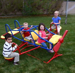 Airplane Teeter Totter Kids See Saw Outdoor Children Playground 7 Seater Flyer