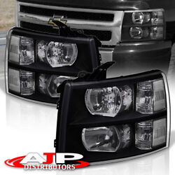 Black Clear Replacement Headlights Lamps For 07-13 Chevy Silverado 1500 2500HD $104.99