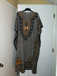 100% Viscose Caftan Dress.  Multi print.  One size - Unmarked
