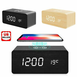 Modern Wooden Wood Digital LED Desk Alarm Clock Thermometer Qi Wireless Charger $16.98