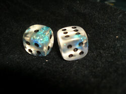 CHESSEX -  SET OF 2 BOREALIS AQUERPLE W BLACK 12MM D6's  (VERY RARE and OOP!!)