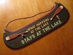 Lake House Canoe Sign Fishing Cabin Lodge Home Decor WHAT HAPPENS AT THE LAKE