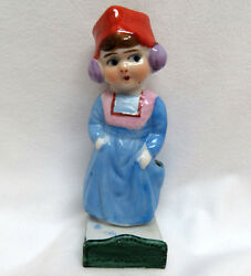 Vintage 1930's Japan Porcelain Figural Toothbrush Holder  Girl Wearing Ear Muffs