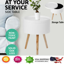 NEW Retro Functional Side Table with Serving Tray Round White Living Decor NEW