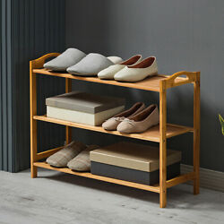 Shoe Rack Wooden Bamboo Shelf Organizer Entryway Storage Simple Furniture 3 Tier