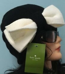 NWT • KATE SPADE Knit Beanie Fashion  Hat • Black W Bow Women's For All Seasons