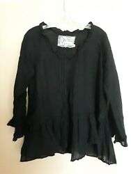 Hearts Desire By Mary Grace Black Linen Top NWOT