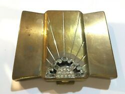 Vintage Volupte Gold Tone Powder Compact With Rhinestone Detail On Lid Art Deco