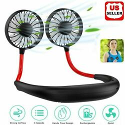 Portable USB Rechargeable Neckband Dual Cooling Mini Fan Lazy Neck Hanging Style $7.89