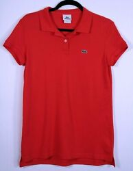 LACOSTE 2-BUTTON CLASSIC FIT POLO  WOMEN'S SIZE 42 Red Cotton Pique NWOT