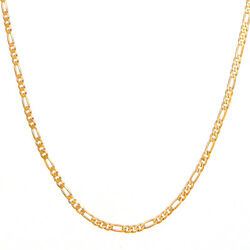 14K Yellow Gold Link Figaro Necklace Chain For Women Jewelry Men Jewelry 24