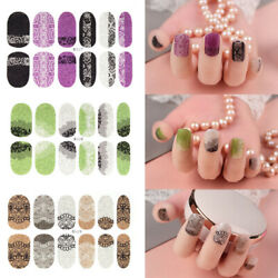 12PcsSheet Flower Nail Art Stickers Full Wrap Strips Decals Tips Manicure DIY