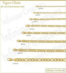 18K Gold Plated Stainless Steel Figaro Chain Bracelet Necklace 7 38quot; 3 12mm $7.89