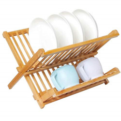 Collapsible Wooden Dish Rack Bamboo Holding Plate Holder Cup Drying Strainer US