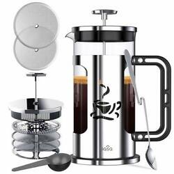 BASA French Press Coffee Maker 34oz Coffee and Tea Makers with 4Level Filtration