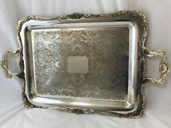 Antique Vtg Victorian Art Deco Silver Serving Tray Vanity Butler Handles Footed