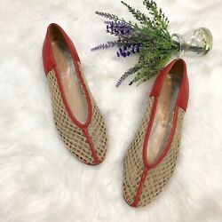 Charles Jourdan Vintage Woven Netting Demi Wedge Heels Size 7.5 Leather