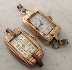 Lot of 2 Vintage Art Deco Elgin & Empire 10K Rolled Gold Plated Watch For Parts