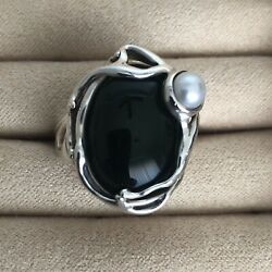 Hagit Gorali Israel Sterling Silver Onyx and Pearl Ring Size 7