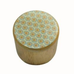 BAMBOO WOODEN STORAGE BOX JEWELLERY KEEPSAKES TRINKET BOX FLORAL BLUE YELLOW