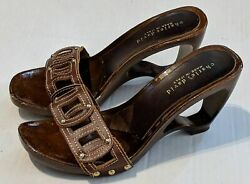 Charles David Womens Shoe Brown Wood Cutout Platform Leather High Heel Sandals