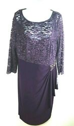 Alex Evenings Women#x27;s Purple Party Dress Size 14w $35.00