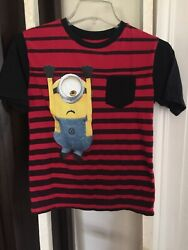 YOUNG BOYS NOVELTY SHIRT TOP ACTIVE WEAR MINIONS DESPICABLE ME SIZE LARGE 10 12 $6.95