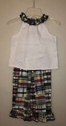 Kelly's Kids Boutique Madras Ruffle Pant Outfit Size S (56) $18.00