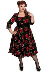 Hell Bunny 50#x27;s Eternity 3 4 sleeves Red Roses Floral Vintage Black Dress $85.50