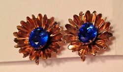 Vintage Gold Over Sterling Silver 925 Brilliant blue stone Earrings screwback