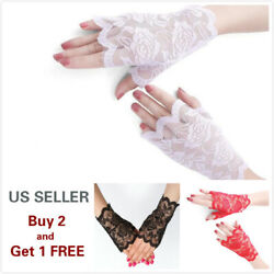 4 Colors Women Short Lace Floral Fingerless Gloves Gothic Bride Wedding Mittens $3.99